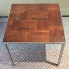 Vintage MCM 1970s Chrome Parquet Wood End Table Milo Baughman / Knoll Style