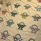 Vintage Antique Flower Basket Pattern Quilt Top Cotton Blue White Green