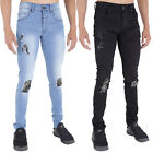 MENS RIPPED JEANS SUPER SKINNY STRETCH RIP REPAIR FRAYED BLACK LIGHTWASH BY AD