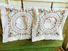Antique 1930's PAir Small Square Pillow Cases Floral Cross Stitch Inset Lace