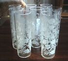 8 VTG Libbey WHITE ROSE Water, Long Island Ice Tea Tom Collins Glasses Tumblers