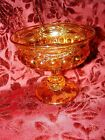 Vintage AMBER Gold Pressed INDIANA Glass Footed PEDESTAL COMPOTE Kings Crown
