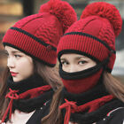 Winter Wool Knit Beanie Hat Scarf Set Fleece Warm Snow Ski Cap Mask Women's