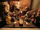 Vintage 50s 60s Creche NATIVITY WOOD BARK MOSS LIGHTED MANGER FIGURES ITALY