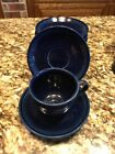 Fiestaware Dark Blue Tea Cups  (6 Fl Oz) (11 Pcs) W/Matching Saucers (10 Pcs)