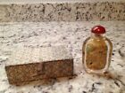 VINTAGE 1950s CHINESE GLASS REVERSE HAND PAINTED SNUFF BOTTLE W/SILK BOX