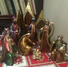 Bombay Company Vtg Nativity Set Of 8 With Stained Glass Screen W Box Numbered