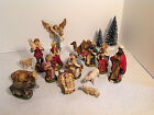Vintage 16 Piece Italian made Plaster Nativity Set Hand painted GUC