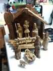 Olive Wood Nativity Set with stable Hand Carved Baby Jesus Mary Joseph