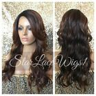 Lace Front Wig Brown Ombre Mixed Highlights Long Loose Curls Layers Heat Safe Ok