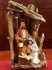 Driftwood Creche Holy Family LED Light up 14 x 85 Resin Stone Nativity Table To