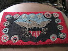Small Country Folk Art Handmade Primitive Eagle Patriotic Wool Hook Rug Mat,NEW