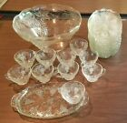 1970's Crystal Punch Bowl, 9 Matching Cups and Serving Plates
