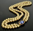 VTG 2 STRAND PEARL SAPPHIRE GLASS CLASP NECKLACE SIGNED DFA