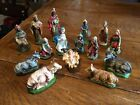 Vintage Lot 15 Piece Paper Mache Italy NATIVITY 2 Sets Hand Painted Animals 4 5