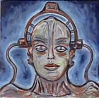Robot MARIA Metropolis silent film 8x8 wood panel original Crowell oil painting