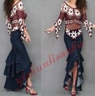 Womens Vintage Long Dress Jeans Denim Pleated Skirt Trousers Slim Fit Sexy Dress