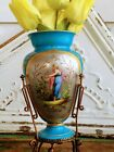 Antique Old Paris French Blue Vase Hand Painted Woman Brass Gilt Stand
