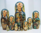 10pcs Hand Painted One of a Kind Russian Nesting Doll of Christs Nativity