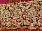 ANTIQUE VICTORIAN LACE PIECES ROSE BUDS LEAVES - 6