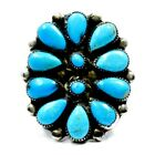 Vintage Turquoise Ring Womens Native American Jewelry Large Silver Cluster Ring