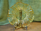 Federal Indiana Pressed Glass Pioneer Yellow Crimped Bowl Fruit Intaglio Center