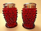 VINTAGE L.G. WRIGHT  RED AMBERINA HOBNAIL GLASS SALT AND PEPPER SHAKERS EXC