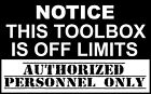 Toolbox Warning Decal Sticker Truck Tool Box Snap-on Mac Matco Tools. Usa Seller