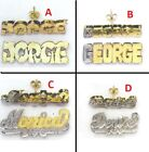 Personalized 14k Gold Overlay 3D Stud Name Earrings