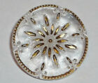 Antique Vntg Clear Textured Gold Incised Star, Sun Burst Back Mark Glass Button