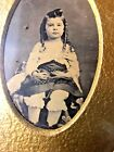 ANTIQUE Early 1900s PHOTO OF LITTLE GIRL WITH FRAME    GRAND RAPIDS MICHIGAN