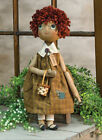 Primitive JENNA DOLL Country Fabric Cloth Rag Raggady Ann Folk Art Farmhouse