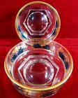 Vintage Glass Bowls with gold scroll and Green Detail Gold Rim Hexagon Base