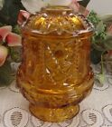 Vintage Indiana Glass Amber Fairy Candle Lamp Stars and Bars pattern