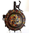 Rare ANTIQUE Chinese Mongolian Enameled Scent Perfume Bottle Compact Chatelaine.