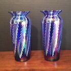 Pair Of Cobalt Pulled Feather Iridescent Art Glass 7 Vases