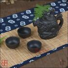 A SET EXQUISITE CHINESE YIXING ZISHA HANDMADE CARVED DRAGON PHOENIX TEAPOT