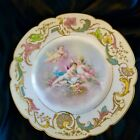ANTIQUE SEVRES HAND PAINTED CABINET PLATE ANGELS FLOWERS GOLD DECORATION.MARKED