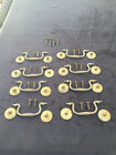 antique solid brass cabinet drawer pulls complete lot of 8
