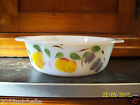 VINTAGE FIRE-KING HAND PAINTED FRUIT GAY FAD 1 1/2 QT. ROUND CASSEROLE
