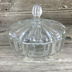 Vintage Clear Glass Ribbed Candy Dish with Lid Old Cafe Anchor Hocking