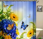 Colorful Butterfly Flowers Shower Curtain Polyester Waterproof with Hooks