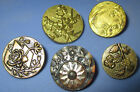 LOT 5 19th C. ANTIQUE PARIS BACK FRENCH TIGHT METAL BUTTONS - FLOWERS PLANT LIFE