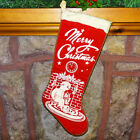 Vintage 1950s Red Felt Flannel Christmas Stocking Mica Glitter Stenciled Child