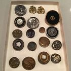VTG. ANTIQUE LOT OF 18 MISC. AS IS  METAL SEWING BUTTONS -  PICTORIALS - FLAWS