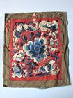 Antique Vintage Chinese Silk Felt Linen Embroidery Panel Butterfly Remnant