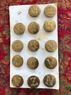 Antique Metal Buttons Alphabet Letters ~14~ Made in England Rare Gold Finish