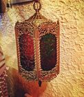 Stained GLASS Hanging LAMP Old PENDANT CHANDELIER