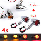 LED Bullet Red + Amber Brake Stop Turn Signal Tail Light For Motorcycle Harley