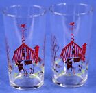 Vintage Hazel Atlas Glass Tumblers Red Barn - MOBIL Gas Flying Horse WeatherVane